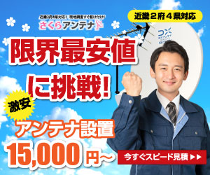 限界最安値に挑戦! アンテナ設置15,000円~