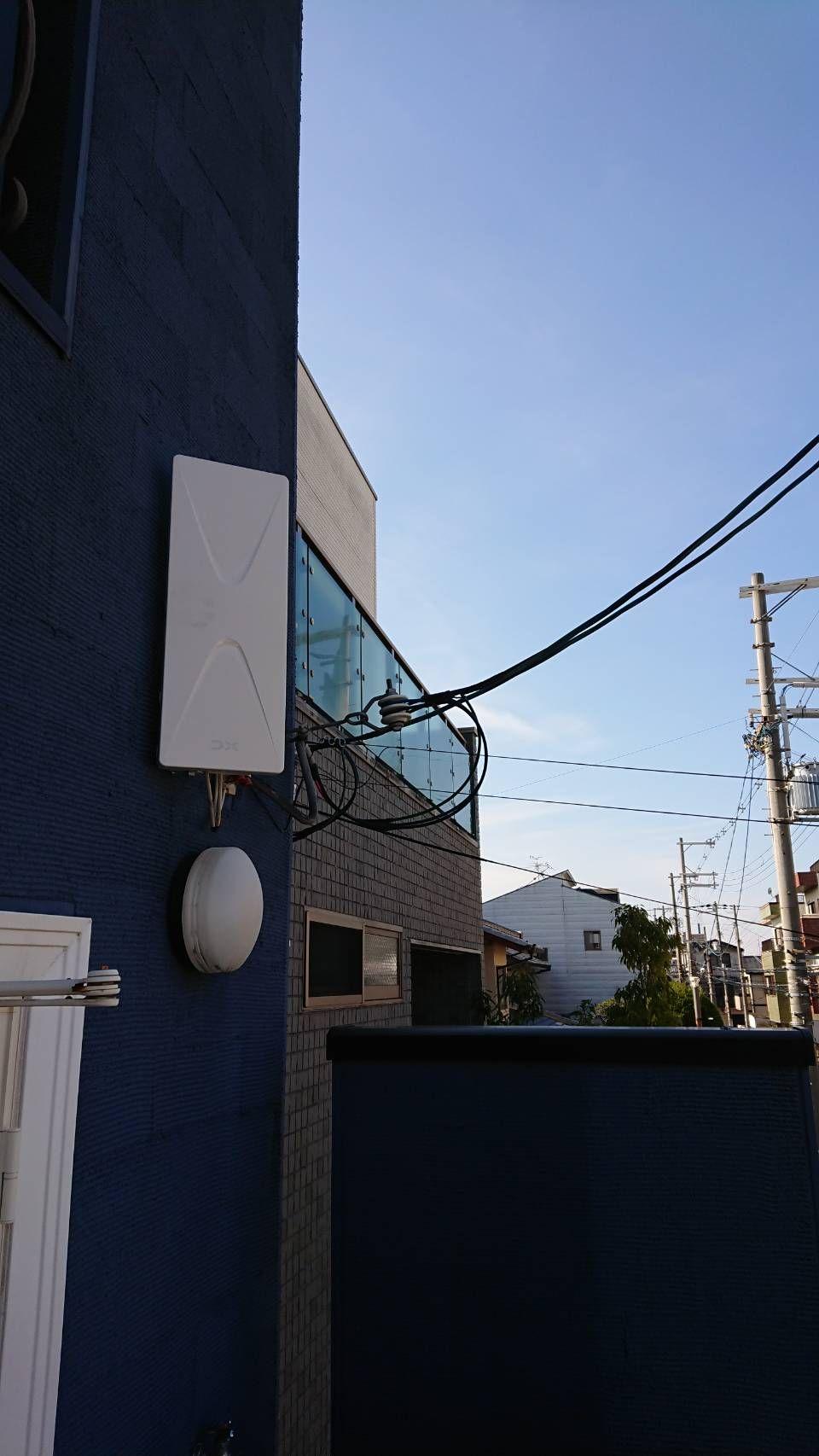 デザインアンテナ(白)壁面設置(大阪市東住吉区)